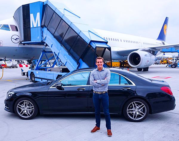 Mercedes-Benz S-Class ride to the plane Lufthansa First Class