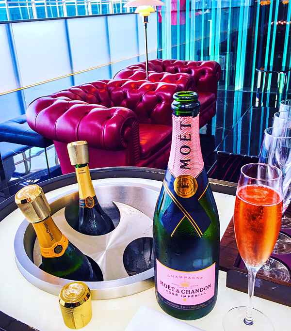 Moët Rose at Cathay Pacific First Class lounge The Wing in Hong Kong