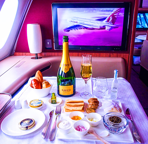 Qatar Airways First Class Oscietra Caviar Krug Grand Cuvée Champagne and Belvedere Wodka