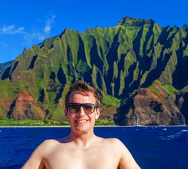 Na Pali Coast seen from boat kauai