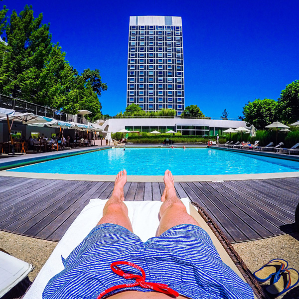 relaxing at InterContinental Geneva pool
