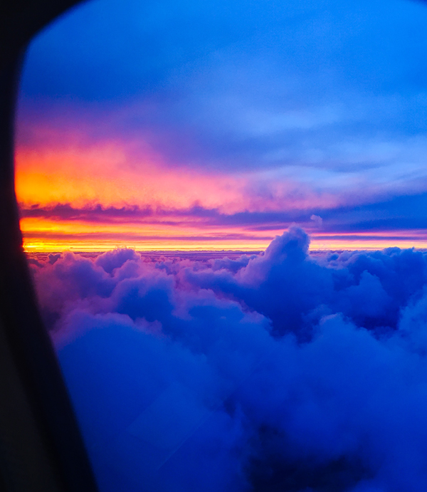 sunset seen from Lufthansa Business Class flight
