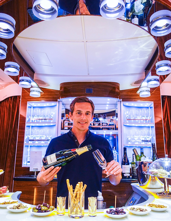 bart lapers working night shift on emirates A380 bar kuala lumpur dubai