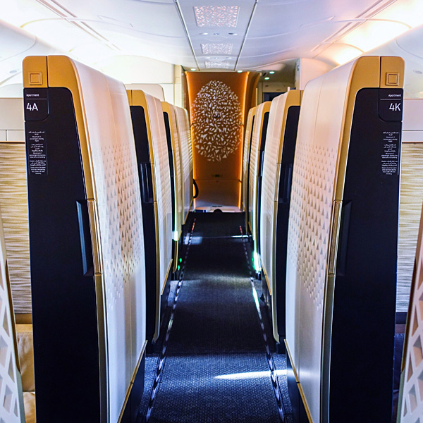 Etihad A380 upper deck featuring 9 first class apartments and the residence