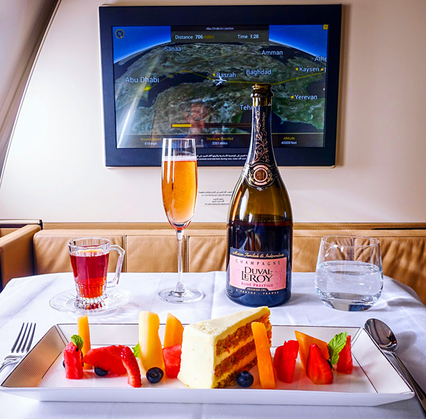 Etihad First Class Dessert Duval Leroy Rose Prestige Champagne Arabic Tea