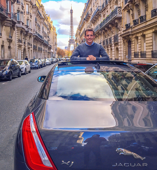 fun in streets of paris with Jaguar XJ luxury flagship bart lapers