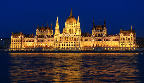 hungarian parliament building by night budapest