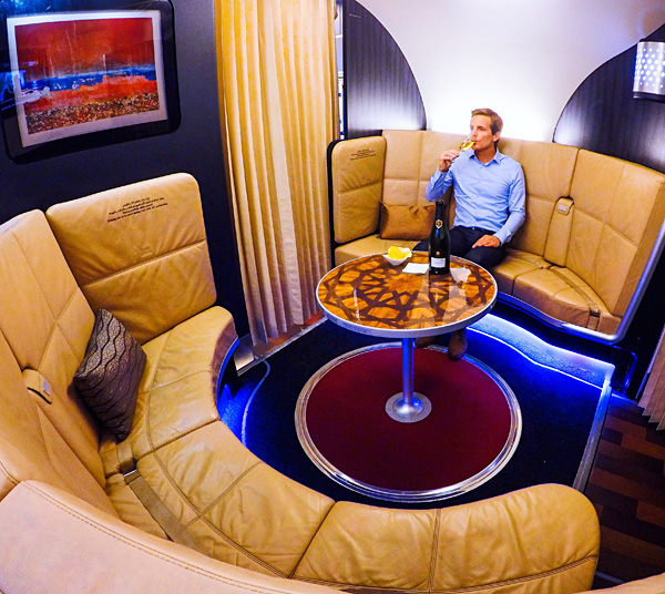 the lobby onboard etihad first class A380 upper deck