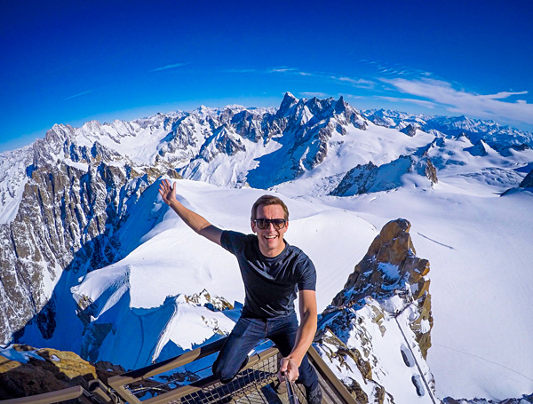 Bart Lapers at Aiguille du Midi in Chamonix, France