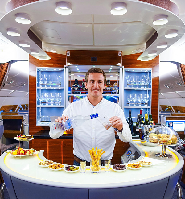 Bart Lapers at Emirates A380 Bar onboard lounge