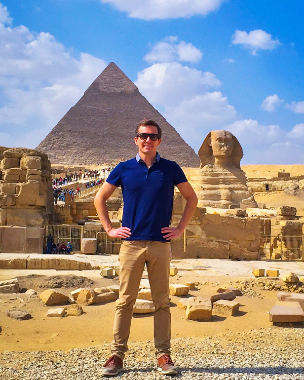 Bart Lapers at the Great Sphinx of Giza near Cairo, Egypt
