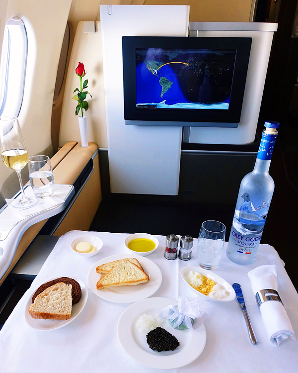 Lufthansa First Class Caviar Service with Grey Goose Vodka