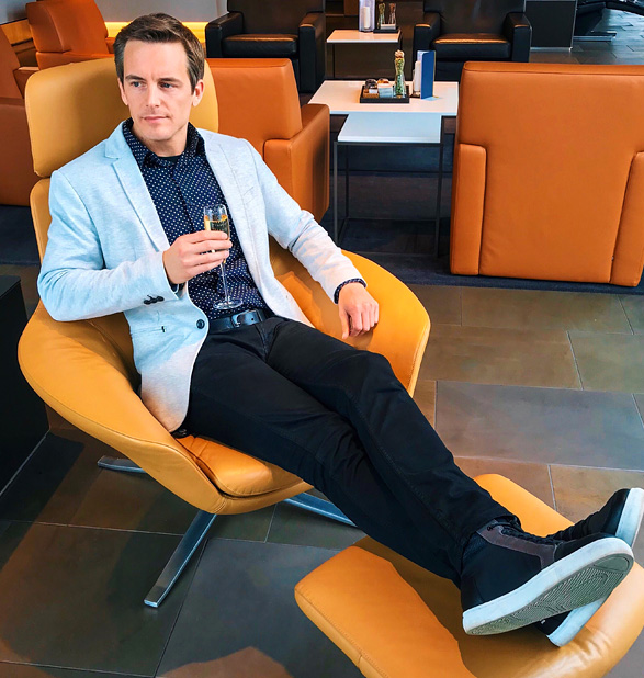 Bart Lapers at Lufthansa First Class Terminal in Frankfurt