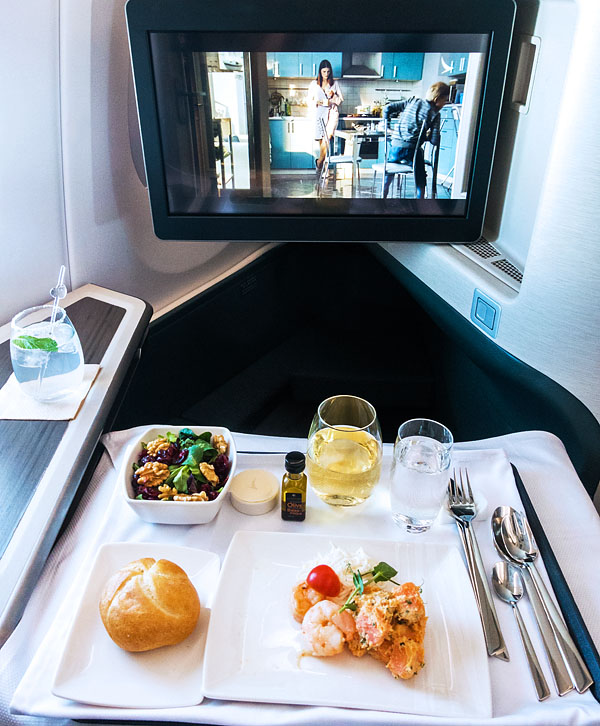 Cathay Pacific A350 Business Class Starter Marinated Prawns