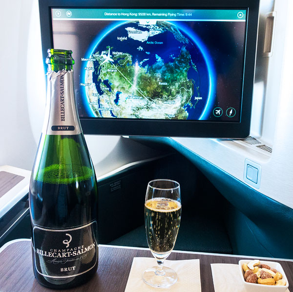 Cathay Pacific A350 Business Class Champagne by Billecart Salmon