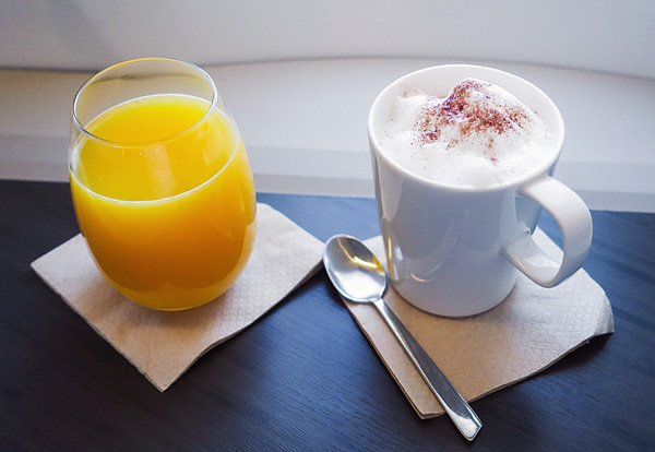 Cathay Pacific A350 Business Class perfect Cappuccino and Orange Juice