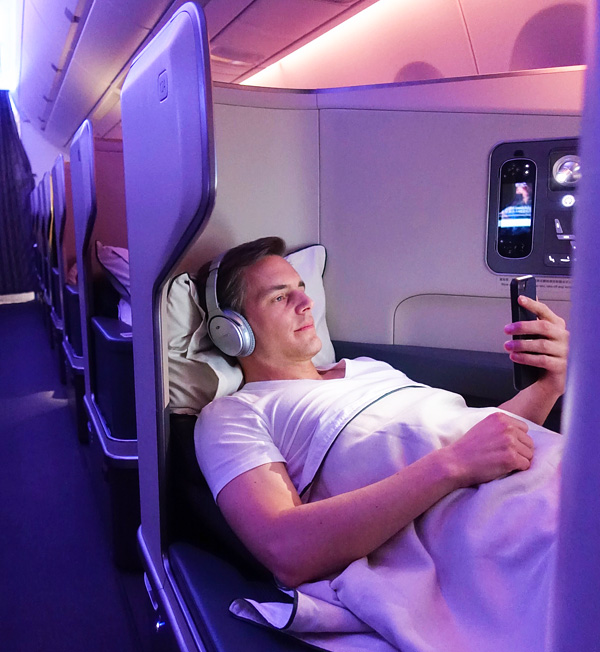Cathay Pacific A350 Business Class Seat 12A full flat bed Bart Lapers