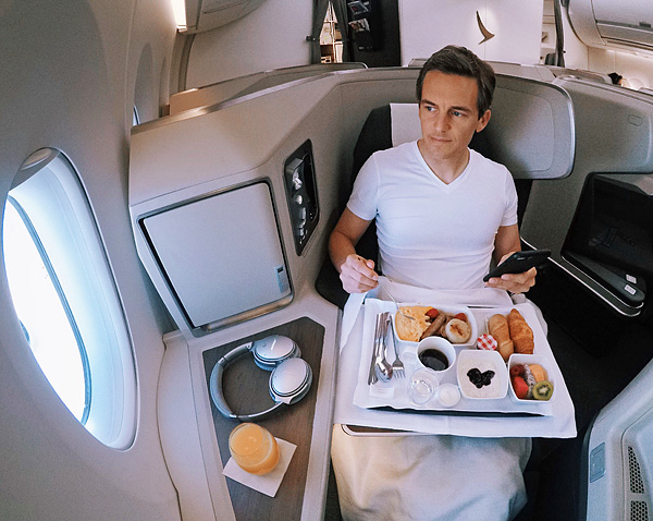 Cathay Pacific A350 Business Class Seat 18K Breakfast Bart Lapers