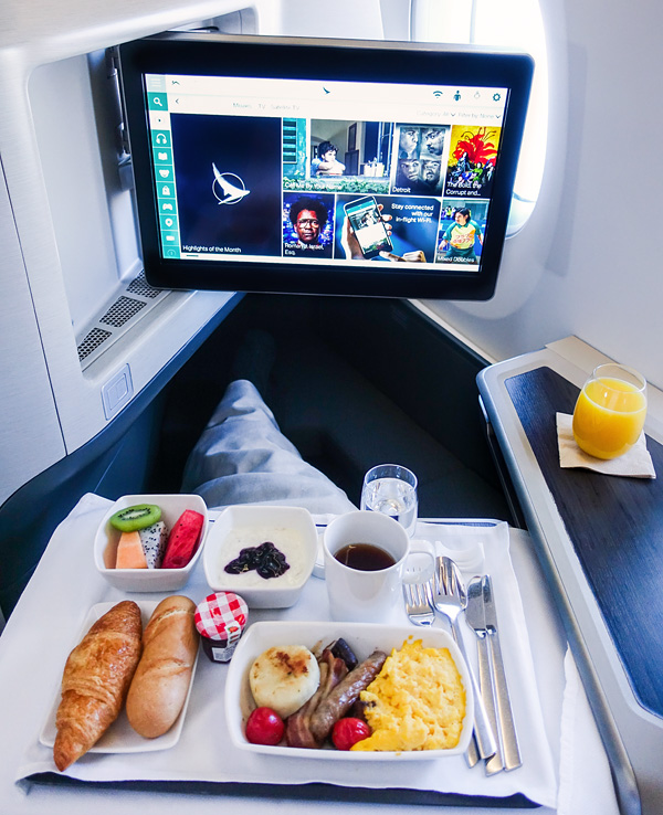 Cathay Pacific Business Class Breakfast Hong Kong Brussels