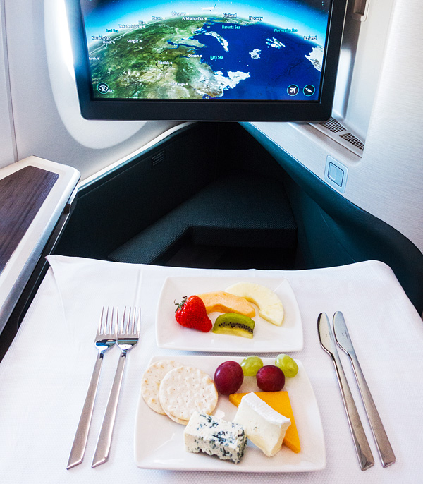 Cathay Pacific Business Class Cheese and Fruit dessert