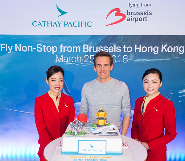 Bart Lapers at Cathay Pacific inaugural event Brussels Airport March 25, 2018