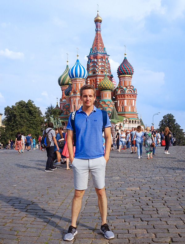 Bart Lapers at Saint Basil's Cathedral Red Square in Moscow
