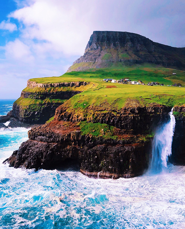 Mulafossur Waterfall at Gasadalur, Faroe Islands June 2018