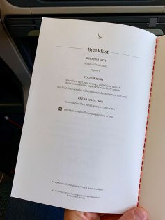 Cathay Dragon A320 Business Class Menu Breakfast