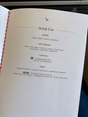 Cathay Dragon A320 Business Class Menu Drinks
