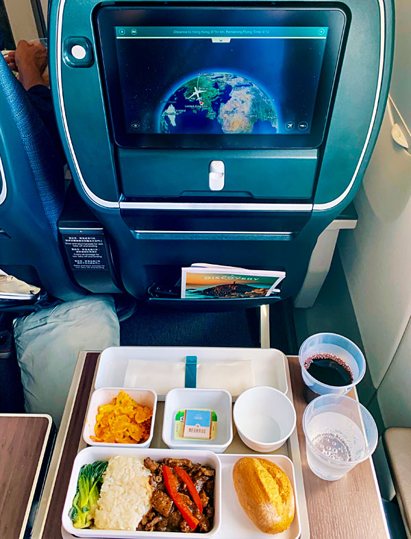 Cathay Pacific A350-900 Premium Economy lunch