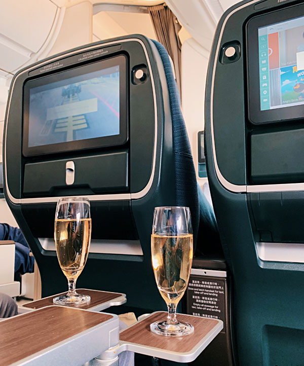 Cathay Pacific A350-900 Premium Economy welcome drink