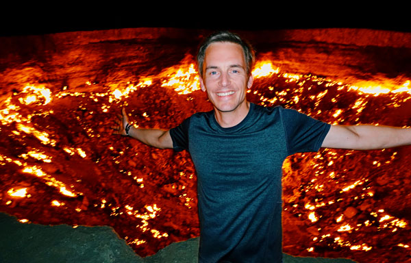 Bart Lapers at Darvaza gas crater Gates of Hell Turkmenistan
