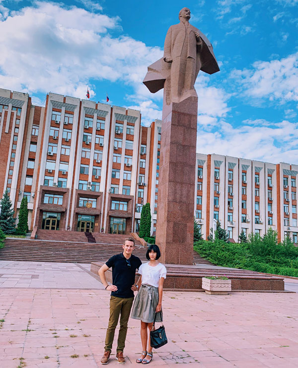 Bart Lapers with guide Katya in Tiraspol Transnistria