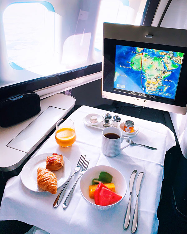 British Airways B747 First Class Breakfast
