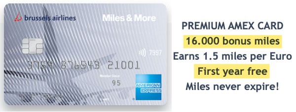Brussels Airlines Premium American Express Miles and More 16000 bonus miles first year free