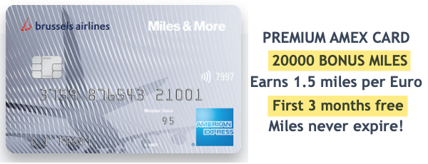 Brussels Airlines Premium American Express Miles and More 20000 bonus miles first 3 months free