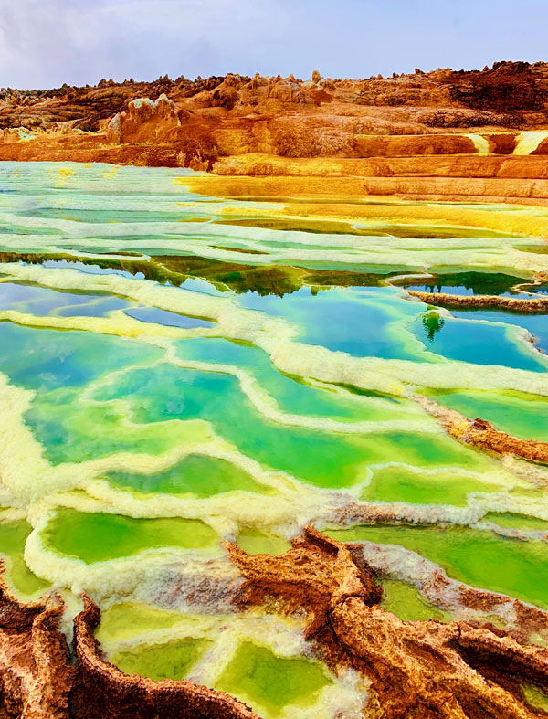 The colorful hydrothermal pools and terraces of Dallol