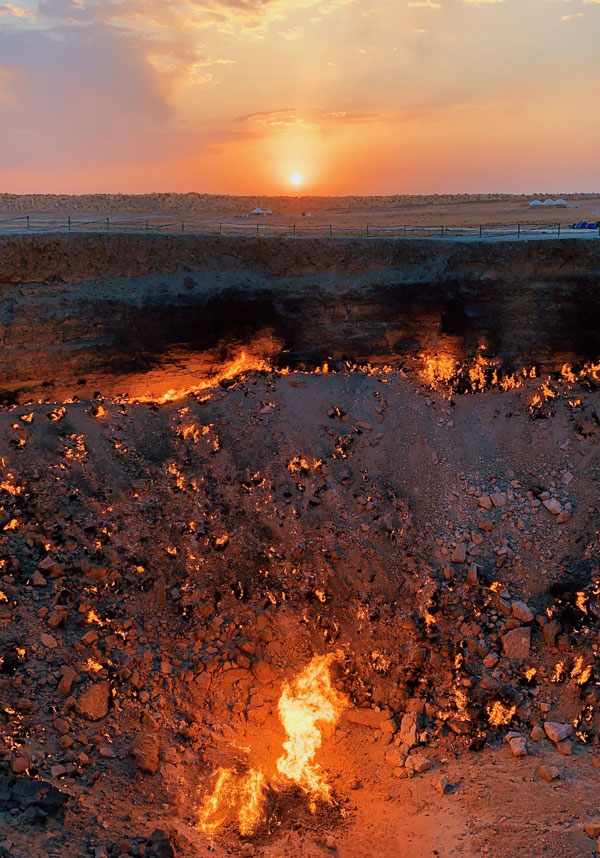 Sunrise at Darvaza Gas Crater Gates of Hell Turkmenistan