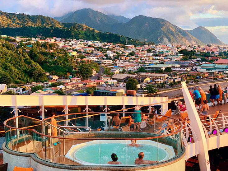 Jacuzzi view MSC Preziosa cruise ship at Dominica Island in January 2020